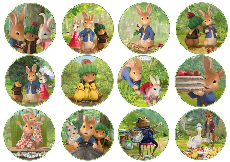 Peter Rabbit Edible Wafer Cup Cake Toppers Standing Or Disc